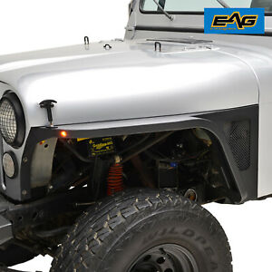 Eag Steel Edge Front Fender W led Eagle Lights Black Fit 76 86 Jeep Wrangler Cj