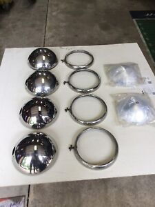 4 1932 Ford Original Stainless Head Lights And Rings And New Reflectors