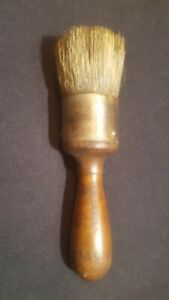 Antique Devoe 200 Paint Brush Horse Hair Wood Handle Farm Primitive Tool
