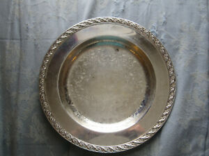 Silver Plated Wm Rogers Platter Spring Flower Pattern 2011 Serving Tray