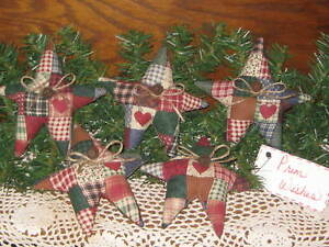 5 Patchwork Fabric Stars Wreath Making Primitive Country Home Decor Rusty Bells