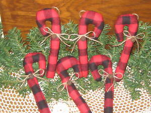 6 Buffalo Plaid Fabric Candy Canes Tree Ornaments Country Christmas Home Decor