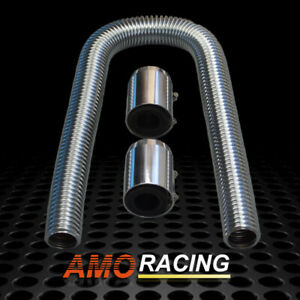 36 Chrome Flexible Stainless Steel Radiator Hose Kit Chrome Caps Fits Universal