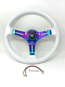 Vendetta Motors Universal Neo Crome Racing Steering Wheel Wood Grain White
