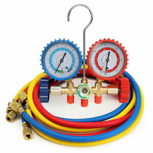 R12 R22 R134a R502 Manifold Gauge Set Hvac A c Refrigeration Charging Hoses Kit