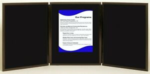 Folding 3 Panel 49 X 20 Black Tabletop Display For Use With Velcro Hook Tape