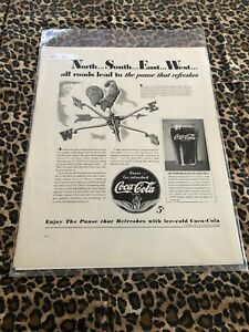 COCA COLA Ad Advertisement FORTUNE 1941 NORTH SOUTH EAST WEST Vintage c486