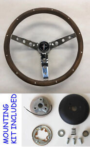 1965 1969 Ford Mustang Grant Steering Wheel Wood Chrome 13 1 2 High Rise Cap