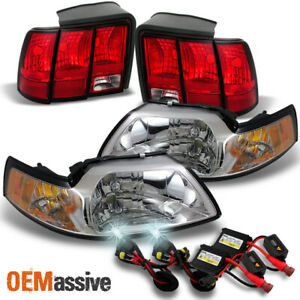 Fit 99 04 Ford Mustang Headlights Red Clear Tail Lights 6k Hid