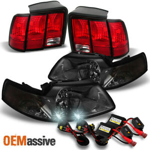 Fit 99 04 Ford Mustang Smoke Headlights Red Clear Tail Lights 6k Hid