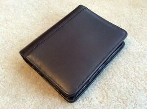 Compact 1 25 Franklin Covey Quest Brown Leather Zip Planner Binder Organizer