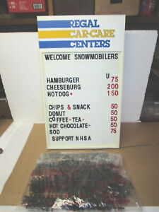 Regal Car care Center Advertising Menu Services Sign Board W numbers Letters