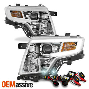 For 07 10 Ford Edge Led C bar Drl Projector Chrome Headlights W 6000k Hid