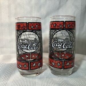 Enjoy Coca-Cola Drinking Glass Tumbler Tiffany Stained Glass Coke Set Of 2
