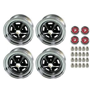 Mustang Wheels Kit Magnum 500 Chrome 5 Lug 15x7 15x8 With Red Mercury Caps