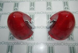 1955 Oldsmobile 98 Tail Light Lenses 2 Guide R3a 55 Imprint Correct Color