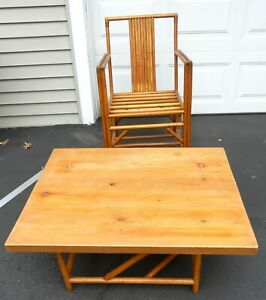 Vintage Mid Century Rattan Chair And Table