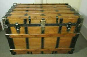 Antique Steamer Trunk X Large Henry Likly Victorian Flat Top Chest W Key C1890