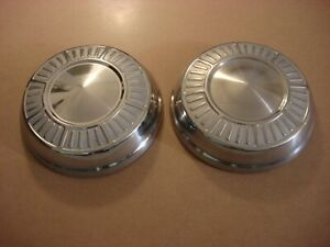 1965 Plymouth Dog Dish Hubcaps pair Savoy Belvedere Fury 1964 1963 1966 Nice