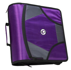 Case it Zipper Binder With 5 Tab Files D ring 4 Inches Purple