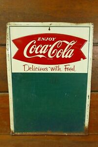 Vintage Original 1960's Coca Cola Fishtail Menu Board Chalkboard Embossed HTF