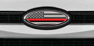 New Fits Ford Models Us Flag Thin Red Line Logo Overlay Decals 3pc Kit
