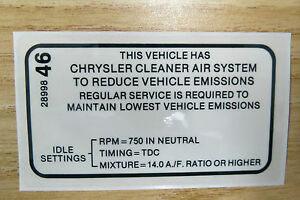 Mopar Dodge Plymouth 1968 All 426 Hemi Emissions Specification Decal New