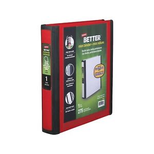 Staples Better Mini 1 inch D 3 ring View Binder Red 20947 55750 20947