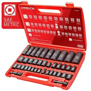 Carbyne 40 Piece Impact Socket Set Sae Metric Standard And Deep Sockets