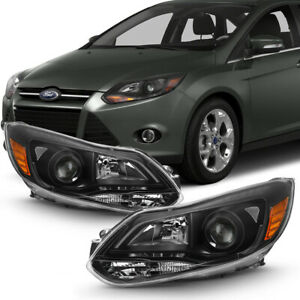 plug play 12 14 Ford Focus Matte Black Clear Projector Headlight Replacement