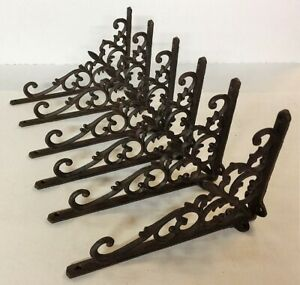 Set Of 6 Fancy Fleur De Lis Wall Shelf Bracket Ornate Corbel Brace Bronze Finish
