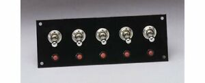 Moroso Switch Panel Aluminum Black 5 5 Wide 2 Tall 5 Toggle Switches Each