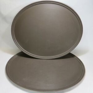 Two Cambro Non skid Camtread 29x24 Oval Restaurant Bar Waiter Food Serving Tray