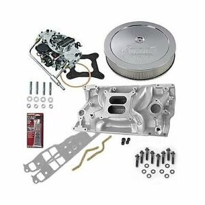 Sbc Chevy 350 Vortec Stage 1 Intake Manifold 600 Cfm Carb Air Cleaner Combo