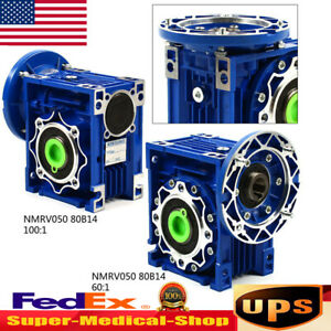 Nmrv050 Worm Gearbox Geared Ratio 60 1 100 1 Speed Reducer Fit Stepper Motor