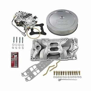 Sbc Chevy 350 Stage 3 Intake Manifold 750 Cfm M s Carb Air Cleaner Combo