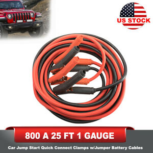 800a 25ft 1 Gauge Quick Connect Clamps Car Jump Start W jumper Battery Cables