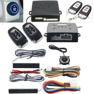 Universal Car Alarm System Keyless Entry Push Button Remote Engine Start Stop
