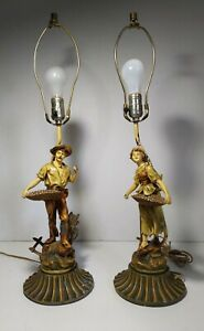Antique Pair Of Spelter French Peasant Figurines Couple Man Woman Lamps