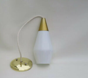 Vintage Glass Brass Pendant Lamp Mid Century Modern Light