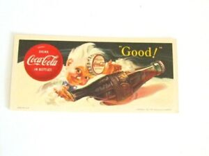 Coca Cola 1953 Sprite Boy Drink Coca Cola in Bottles Ink Blotter Card unused
