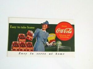Coca Cola 1940 Free 6 pack bottles coupon card Easy to take Home NEW