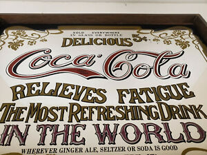 Vintage Coca Cola Delicious 5 Cent Relieves Fatigue Framed Mirrored Sign