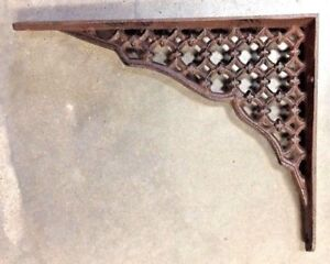 Set Of 2 Large Lattice Shelf Bracket Brace Rustic Antique Brown Cast Iron