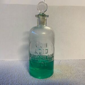 Antique Pharmacy Or Apothecary Glass Bottle Hydrochloric Acid
