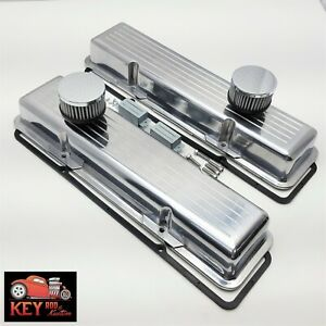 Small Block Chevy Ball Milled Polished Aluminum Short Valve Covers 350 400 Sbc