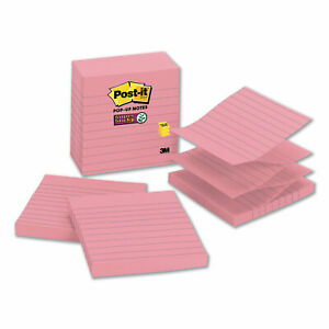 Post it Pop up Notes Super Sticky Pop up Notes Refill Lined 4 X 4 Neon Pink