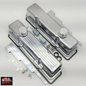 Small Block Chevy Ball Milled Polished Aluminum Tall Valve Covers 350 400 Sbc