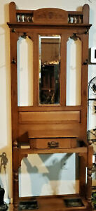 Antique Oak Hall Tree Umbrella Stand W Mirror 4 Hooks 2 Drip Pans And Drawer