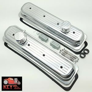 Sb Chevy Center Bolt Ball Milled Polished Aluminum Short Valve Covers 305 350